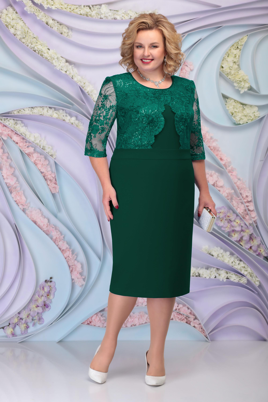 LIA6095 Smaragdzaļa kleita ar mežģīņu augšdaļu