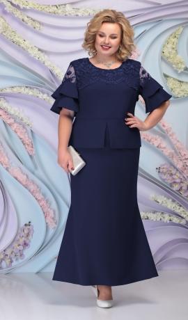 LIA6103 Tumši zila kostīmstila kleita