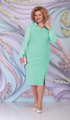 LIA6081 Gaiši zaļa kleita ar šifona piedurknēm