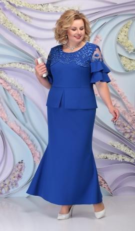 LIA6104 Zila kostīmstila kleita