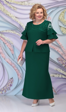 LIA6101 Smaragdzaļa kostīmstila kleita