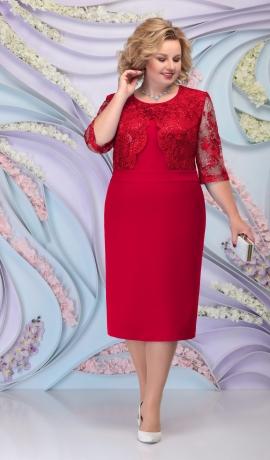 LIA6096 Sarkana kleita ar mežģīņu augšdaļu
