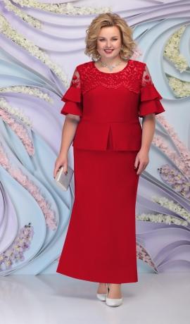 LIA6102 Sarkana kostīmstila kleita