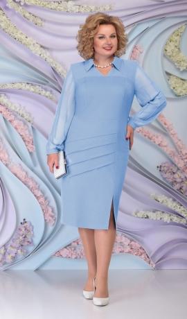 LIA6083 Zila kleita ar šifona piedurknēm