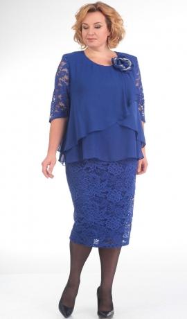 LIA1467 Zila šifona un mežģīņu kleita