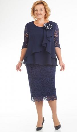LIA1470 Tumši zila šifona un mežģīņu kleita