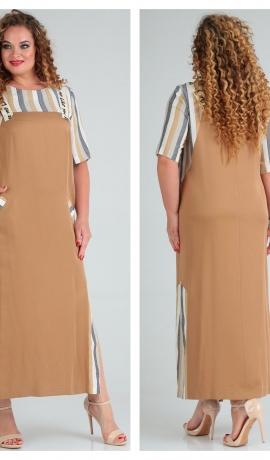 3-1792 Bēša divu audumu kleita