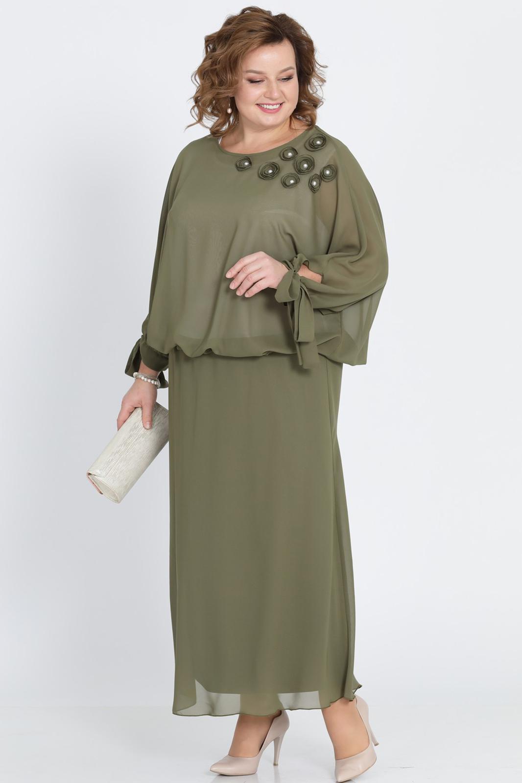 LIA2022 Haki krāsas gara šifona kleita