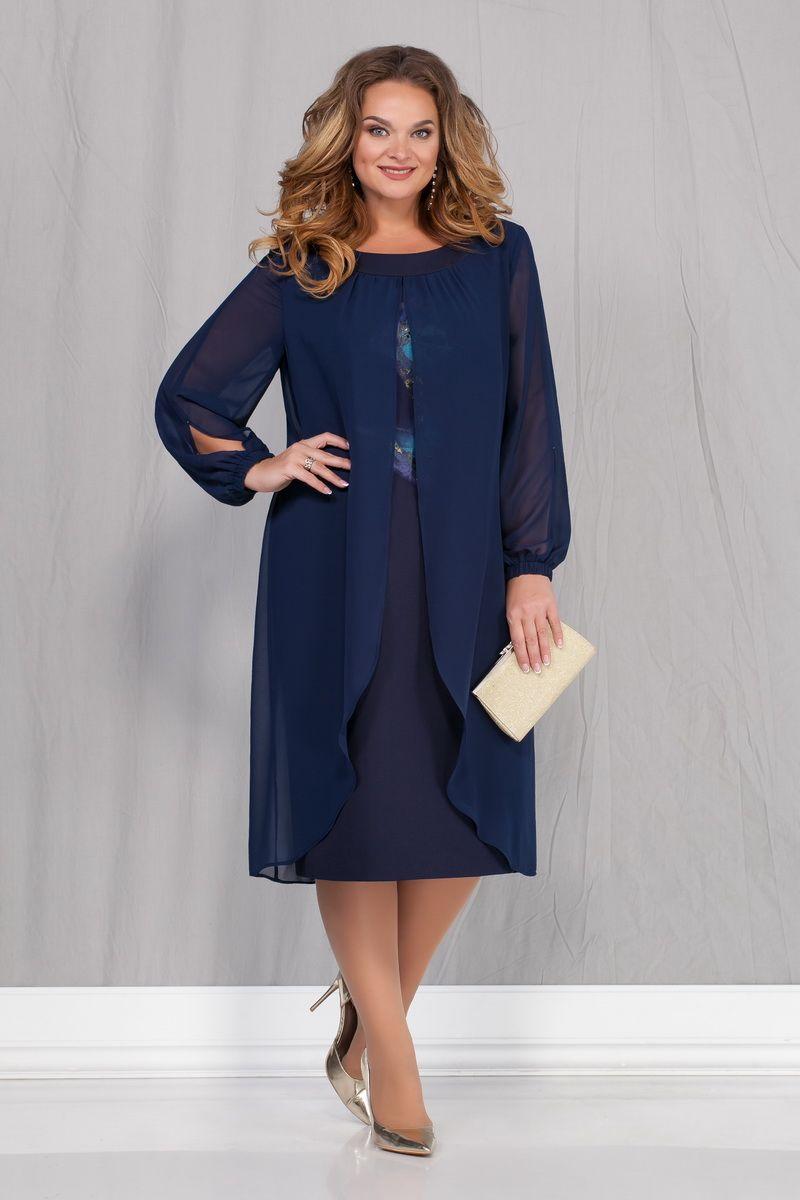 LIA6744 Zila kleita ar apdruku un šifonu