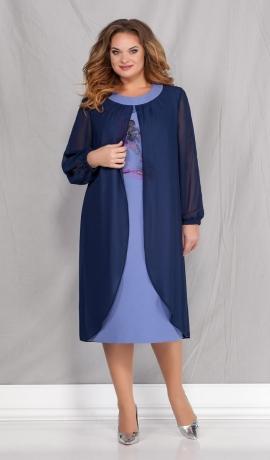 LIA6745 Gaiši zila kleita ar apdruku un zilu šifonu