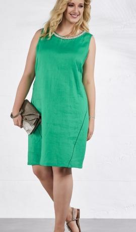 3-0897 Zaļa lina kleita