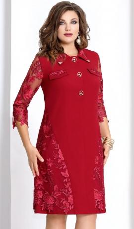 3-0915 Sarkana kleita ar mežģīni