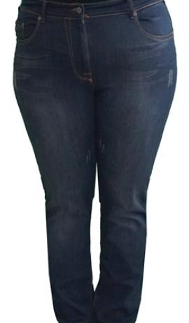 5-0292 Tumši zili džinsi ar nodiluma un balinājuma efektu