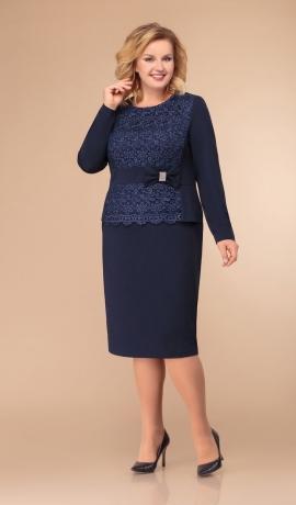 3-1247 Tumši zila kleita ar mežģīni