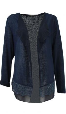 2-0390 Tumši zila jaka ar mēžģīnēm.