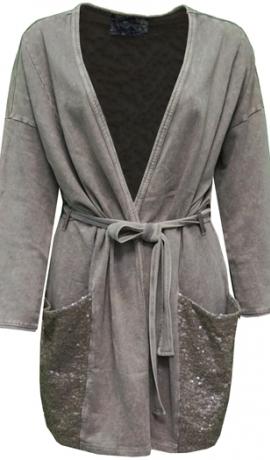 2-0389 Bēšas krāsas jaka ar jostu