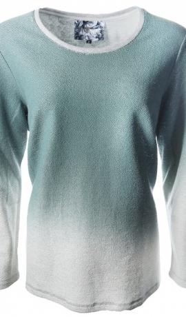 2-0393 Zaļš džemperis ar ombrē efektu