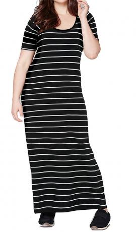 3-0592 Melna džersijas kleita ar svītrām