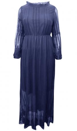 3-0590 Gara kleita melleņu zilā tonī ar izšuvumiem