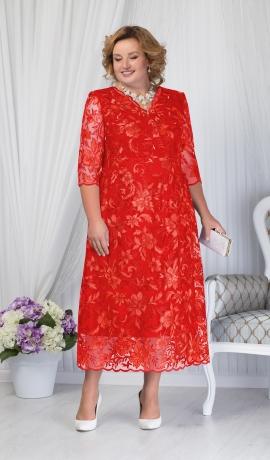 LIA1512 Sarkana mežģīņu kleita