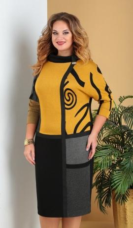 LIA6752 Dzeltena/melna kleita