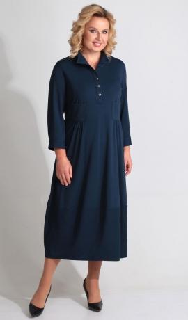 LIA3439 Zila trikotāžas kleita