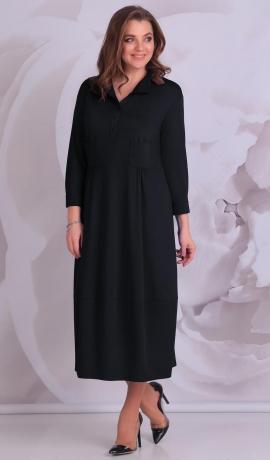 LIA3436 Melna trikotāžas kleita