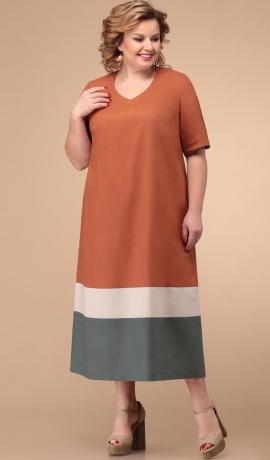 3-1738 Ķieģeļkrāsas kleita
