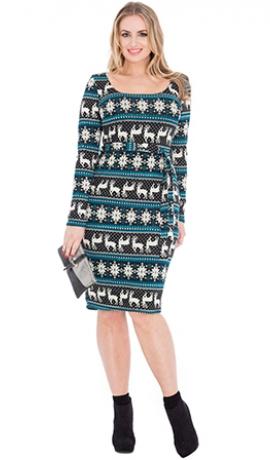 3-0480 Tirkīzzila kleita ar ziemeļbriežiem