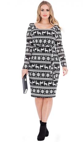 3-0479 Melna & sudrabkrāsas kleita ar ziemeļbriežiem