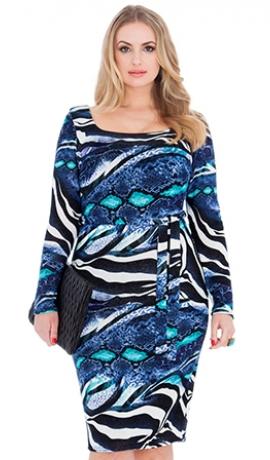3-0484 Zila un multikrāsu kleita