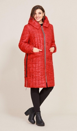 LIA7721 Sarkana virsjaka ar kapuci