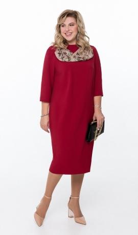 LIA6557 Vīna krāsas kleita ar šallīti