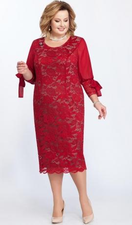 LIA2320 Sarkana mežģīņu kleita