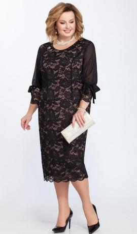 LIA2322 Melna mežģīņu kleita