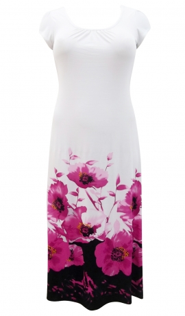 3-0470 Balta & rozā apdrukāta kleita