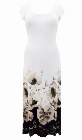 3-0469 Balta & brūna apdrukāta kleita