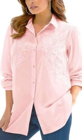 1-1009 Gaiši rozā krekls ar izšuvumiem