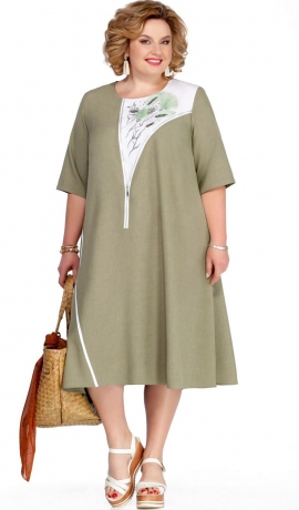 LIA5718 Gaiša haki kleita ar gaišiem ielaidumiem