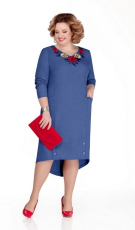 LIA5719 Zila kleita ar pagarinātu muguras daļu