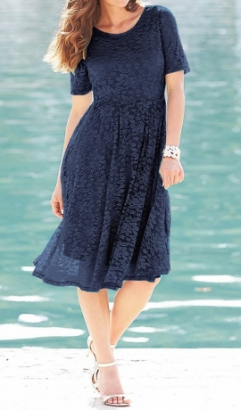 3-0602 Tumši zila mežģīņu midi kleita