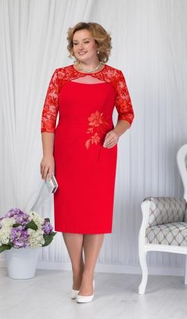 LIA1459 Sarkana kleita ar mežģīņu augšdaļu