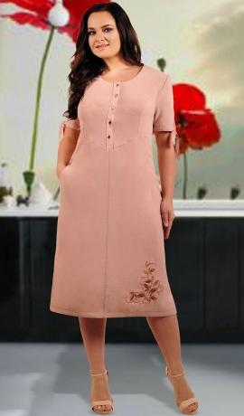 LIA1201 Pūdera krāsas kleita ar kabatiņu