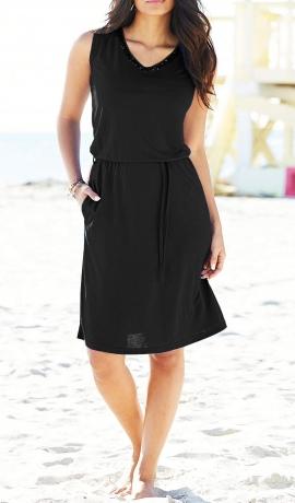 3-0456 Melna kleita ar spīdumiem
