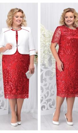 LIA3680 Mežģīņu kleita ar baltu žaketi