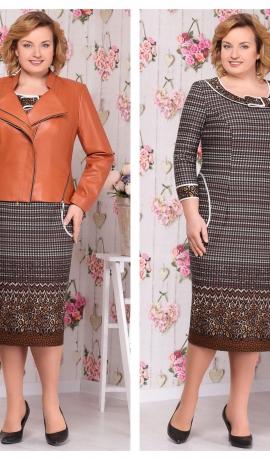 3-1326 Trikotāžas kleita ar mākslīgās ādas jaciņu