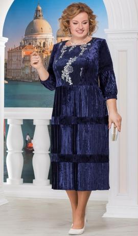 3-1155 Tumši zila samta kleita ar izšuvumiem