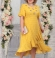 LIA5400 Dzeltena kleita ar asimetrisku volānu