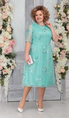 LIA5373 Gaiši zaļa mežģīņu kleita