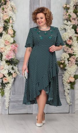 LIA5399 Smaragdzaļa kleita ar asimetrisku volānu